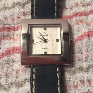 Swiss Peugeot navy square face silver watch